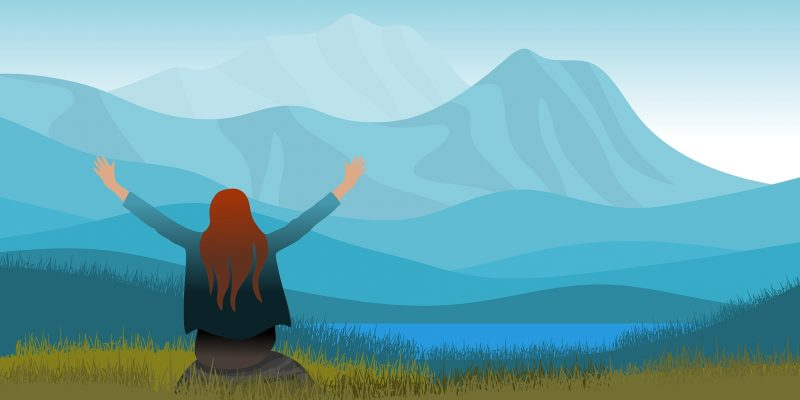Vrouw die aan mindfulness doet